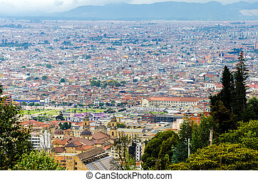 View of Bogota, Colombias Historic District - Aerial view of...