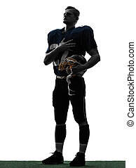 american football player man hand on heart silhouette - one...