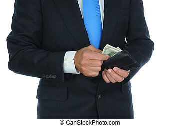 Businessman Taking Cash From Wallet - Closeup of a...