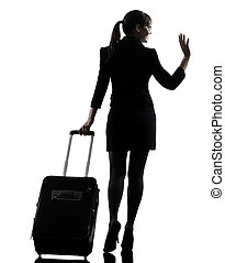 rear view business woman traveling saluting silhouette - one...