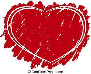 Grungy heart background - Red grungy heart shape background...