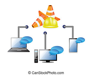 technology network illustration design
