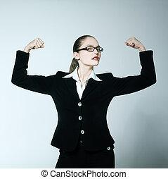 um, forte, Poderoso, mulher, flexionar, músculos,...