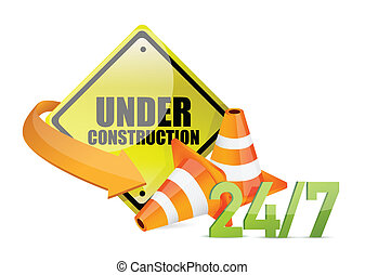 under construction service sign illustration design over...