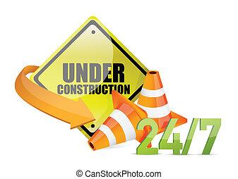under construction service sign illustration design over...