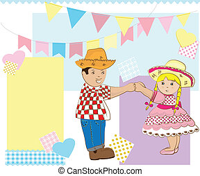 Junina Party - Boy and girl dancing country party