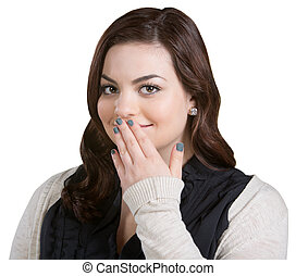 Smiling Woman Covering Mouth - Smiling Caucasian young adult...