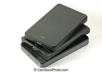 Pile of external USD hard drive - Three USB 3 external hard...