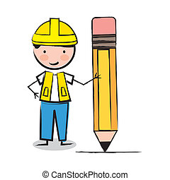 architect over white background vector illustration