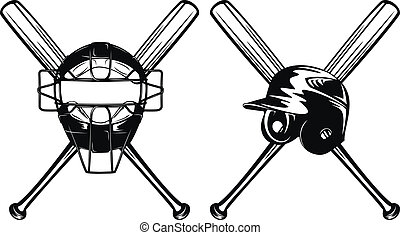 helmet mask and bats - Vector illustration baseball helmet,...
