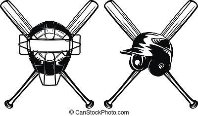 helmet mask and bats - Vector illustration baseball helmet,...