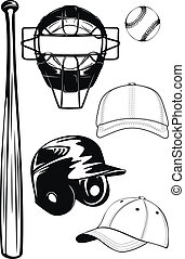 helmet, bat, cap, ball, mask set - Vector illustration...