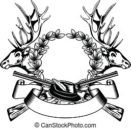 hunting frame with hat - Vector illustration elk hedas oak...
