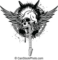 head punk with wings - Vector illustration skull punk with...