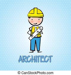 architect cartoon over blue background. vector illustration