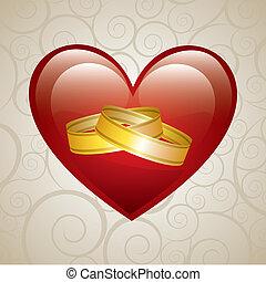 wedding card over beige background vector illustration