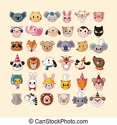 set of animal face icons