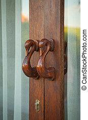 door handle - old vintage wood door handle