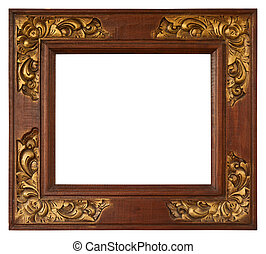 Bali gold frame - Bali antique gold frame isolated on white