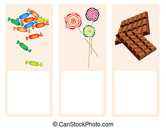 Chocolates, Lollipops and Hard Candy on Lovely Background -...