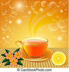 background with flower tea - illustration background with...