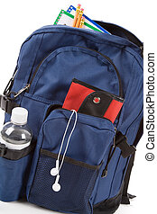 Book Bag and MP3 with white background