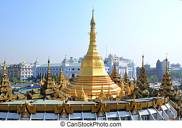Sule pagoda in Yangon, Myanmar - Sule pagoda is also a big...