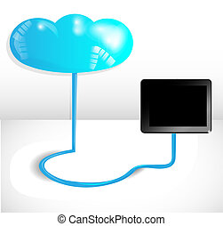 Cloud computing concept with blue cloud and black tablet