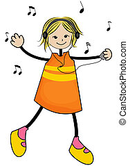 Music Girl with Clipping Path