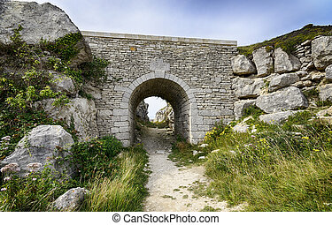Tout Quarry on Portland - Old stone bridge at Tout Quarry on...