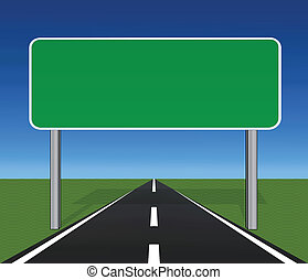 Straight Highway with Blank Roadsign