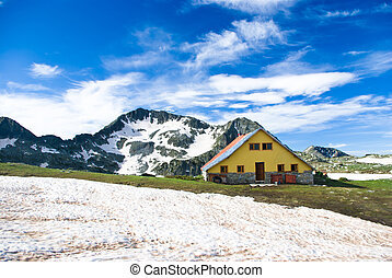 Mountain hut in the Pirin range - Balkan mountains, Bulgaria...