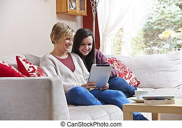 macierz, córka, tabliczka, komputer