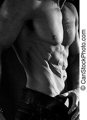 Muscular male torso - Black and white photo of a torso...