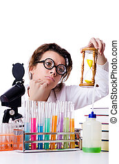 Crazy woman chemist in lab
