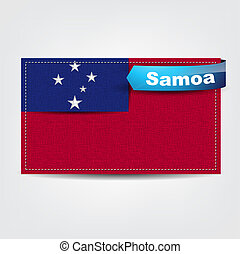 Fabric texture of the flag of Samoa with a blue bow.