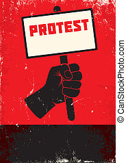 Illustration of protest - Red and black poster with fist and...