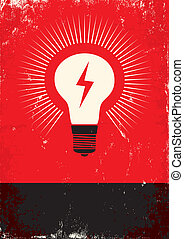 poster with bulb - Red and black poster with bulb and...