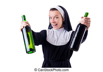 Nun with bottle of red wine