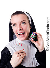 Nun in the gambling concept