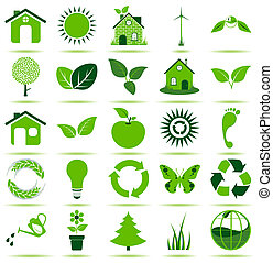 Green Eco Icons - 25 premium eco icons for your designs,...