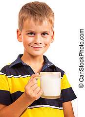 ?ute boy is drinking milk on white - ?ute boy is drinking...