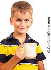 ?ute boy is drinking milk on white - ?ute boy is drinking...