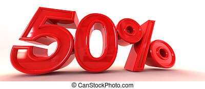 50% 3D Sign - A 3D illustration of 50%