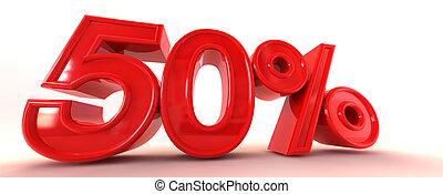 50% 3D Sign - A 3D illustration of 50%