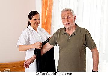 Enfermera, anciano, cuidado, anciano, enfermería,...