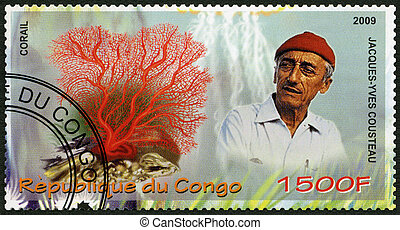 CONGO - 2009: shows coral and Jacques Cousteau 1910-1997 -...