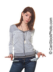 broke, young woman shows her empty pockets - young teenage...