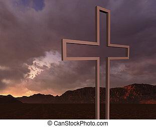 Wooden cross in nigh