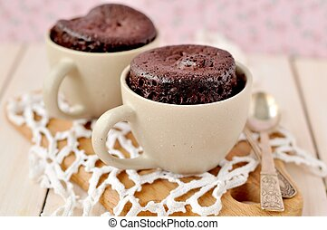Chocolate Cup Cakes - Two microwave cooked chocolate cakes...